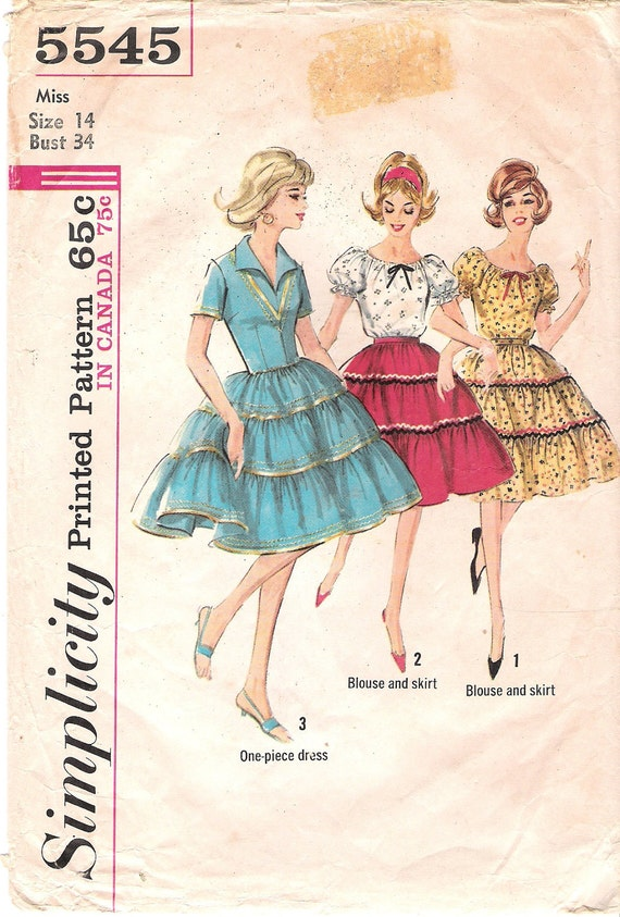 Vintage Simplicity Sewing Pattern 5545 1960's Rockabilly Squaw Dress, Peasant Blouse and Ruffled Tiered Skirt Bust 34