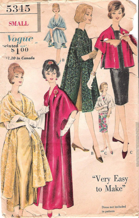 Fabulous Vintage 1960's Womens Formal Stole Coat in Three Lengths Sewing Pattern Vogue 5345