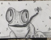 ACEO Original pencil drawing Frog and Fly OOAK