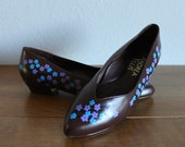 Spring-VINTAGE brown FLATS with hand painted cherry blossoms