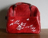Flight - VINTAGE red American Escort travel bag with hand painted birds