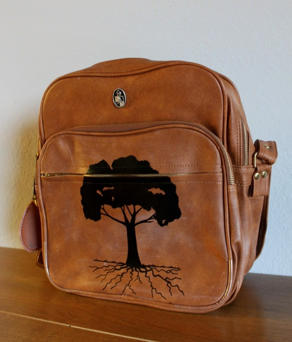 VINTAGE brown SHOULDER BAG with hand painted tree -Shady