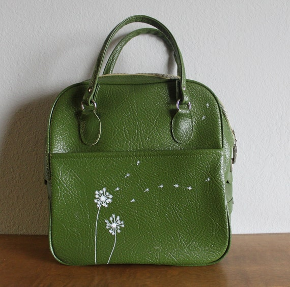 Blow - VINTAGE green SEARS travel bag with hand painted dandelions
