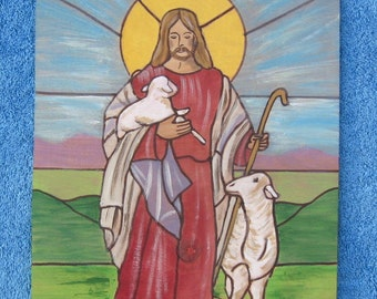 JESUS & LAMBS Wood Wall Art - Stained Glass Inspired
