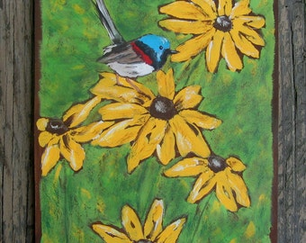 Sunflower & Bird Wood Wall Art - Fairy Wren Australian Bird - Original Painting