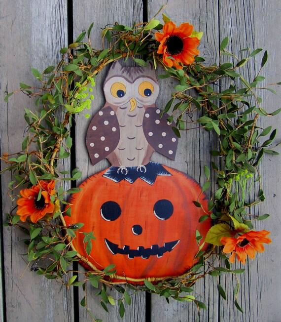 Items similar to VINTAGE PUMPKIN & OWL Door Hanger  ~ 102409_Halloween Owl Door Hanger