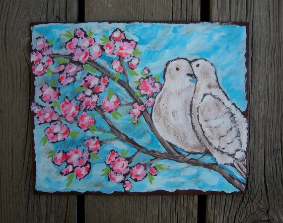 WHITE DOVES Wood Wall Art - Original Acrylic Painting