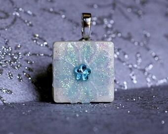 Birthstone Pendant - Jewelry  Pendants - Ceramic Tile -  Aquamarine Pendant  -  Birthday Pendants - Birthday Gifts