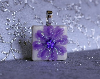 Birthday Pendant - Jewelry Pendants - Ceramic Tile -  Amethyst Pendant - February Birthday -  Birthday Gifts -  FREE GIFT WRAPPING