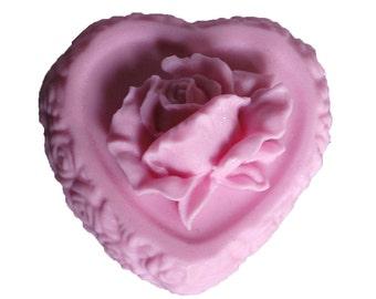 Rose Soap - Organic Soap - Pink  Soaps   -  Heart Soap - Decorative Soap  -  Moisturizing Soap  - Natural Soap - Essential Oil Rose