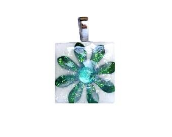 Birthstone Pendant - Jewelry Pendants  - Ceramic Tile -  Emerald Pendant -  May Birthday - Birthday Gifts