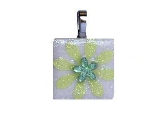 Birthstone Pendant - Jewelry  Pendant - Ceramic  Tile -  Peridot Pendant  -  Pendants - Gifts - Flower Pendant