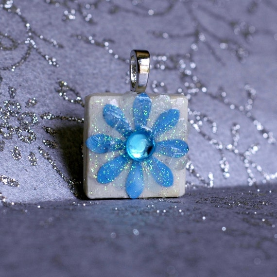 Birthstone Pendant - Jewelry  Pendants - Ceramic Tile -  Blue Topaz Pendant  - Birthday Gifts