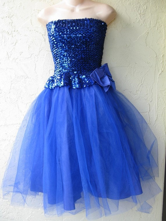 Vintage 80 S Electric Blue Sequin Beaded Poof By