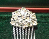 Vintage Brooch Bridal Hair Comb with Stunning Rhinestone Adornment