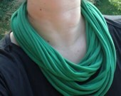 T Shirt Scarf or Statement Necklace in Kelly Green Jersey