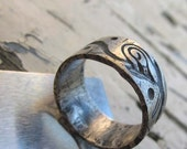 Celtic silver band - rustic leaf ring