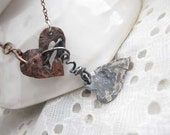 Heart Love pendant - Silver and copper one of a kind metal jewelry