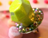 Candy Glam Minted Kiwi Twist Rock Candy - Ring Pop Glitter Resin Ring - Kitsch Kawaii