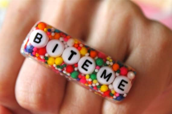 The Original Super Sweet G Thang BITE ME - Candy Resin Sprinkles Ring - Knuckle Duster Ring - Sweet In Da City Collection - Kawaii Kitsch