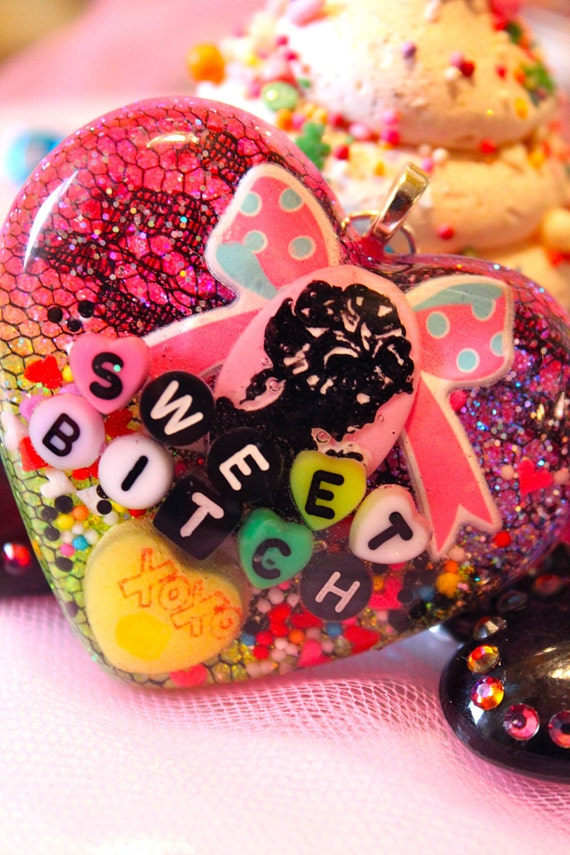 MATURE CONTENT Sweet BItch Bows and Lace Candy Sprinkle Resin Necklace