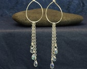 earrings - sterling silver wire and chain with glass raindrops