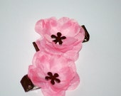 Pink and Brown Flower Hair Clip Small Hair Flower Bow Set of 2 clippies no slip