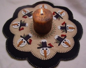 Winter Friends Snowman Penny Rug Candle Mat DIGITAL PATTERN