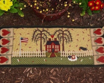 Primitive House Penny Rug Table Runner MAILED PAPER PATTERN