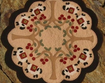 Sheep and Cherry Trees penny rug candle mat DIGITAL PATTERN