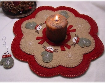 Snowman Mittens Penny Rug Candle Mat MAILED PAPER PATTERN