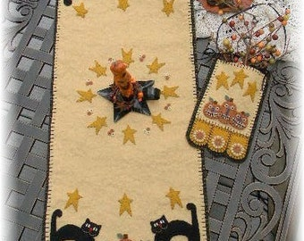 Halloween Cats & Jacks Penny Rug/Penny Pocket MAILED PAPER PATTERN
