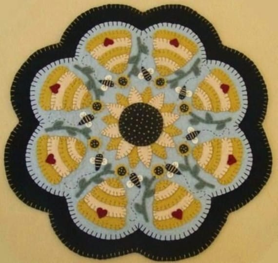Sweet As Honey Penny Rug Candle Mat DIGITAL PATTERN