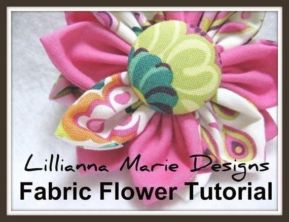 PDF Tutorial Fabric Flower Headband, Brooch, Clip