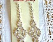 Rhinestone Earrings, Hollywood Regency