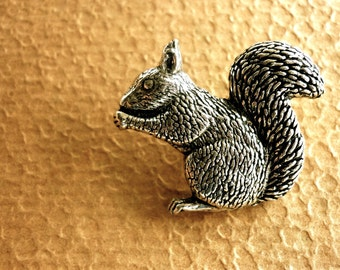 Antiqued Pewter Tie Tack Pin Squirrel