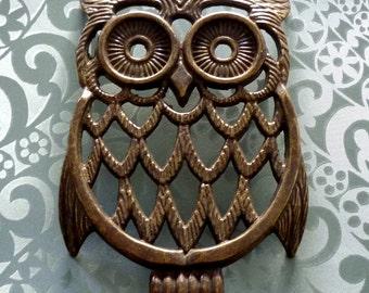 Rare BIG Brass Owl Pot Trivet