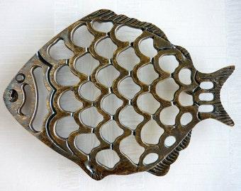 Vintage Brass Fish Trivet