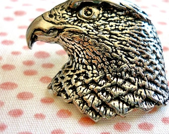 Antiqued Pewter Pin  Hawk Head