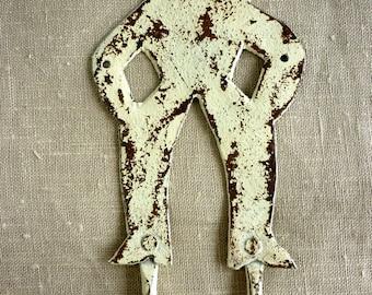 SALE VINTAGE Hand Painted IRON Cowboy Hook