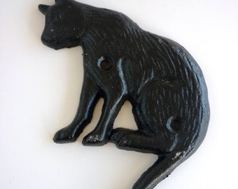 SALE Lovely Hand Painted Cat Iron Hook or Wall Ornament