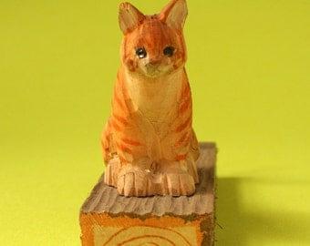 Wood Cat Pencil Holder