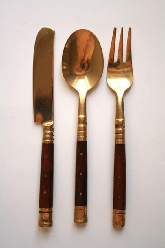 Sale wood and brass canape cutlery set for Canape knife
