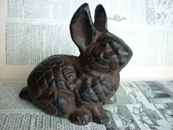 EASTER DECOR White Hand Painted Sweet Rabbit