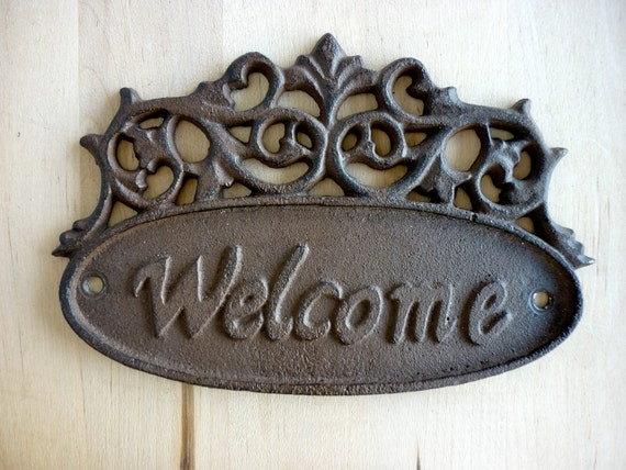 Hand Painted Welcome Iron Sign