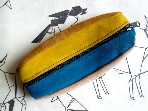 Suede Leather Pencil Cases