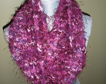 Cowl neck Scarf in cranberry and cream