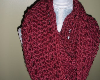 Wool cowl neck Scarf in  Red