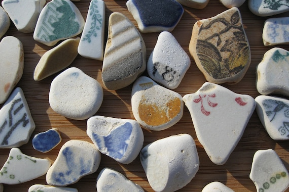 Genuine Surf Tumbled Sea Glass Pottery Pieces all with Designs or Color