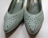 Mint Green Eyelet Cutout Shoes